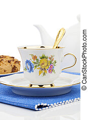 cup of tea on white background