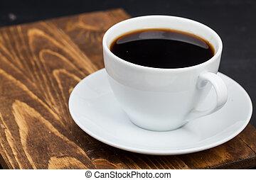 Cup of tea on wood
