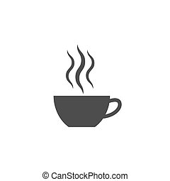 Cup of tea or cofee with smoke. Vector illustration