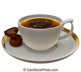 Cup of tea or coffee with two pieces of chocolate