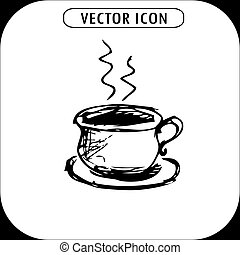 cup of tea or coffee,hand drawn icon,