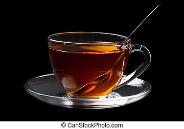 cup of tea over black background