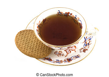 cup of tea with biscuit