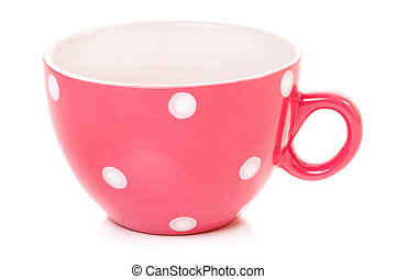 Cup of tea - Empty big mug polka dot, isolated on white...