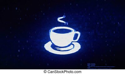 Cup Of Tea Symbol Digital Pixel Noise Error Animation.