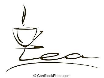 "Cup of tea. - The stylized inscription ""tea"" on a white..."