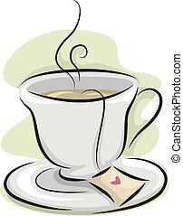 Cup of Tea - Illustration Featuring a Hot Cup of Tea