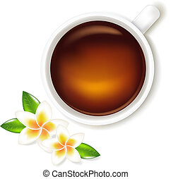 Cup Of Tea Vector Illustration With Frangipani