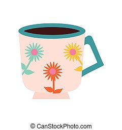 cup of tea with a pink color and flowers