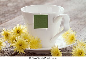 Cup of tea with blank tag.