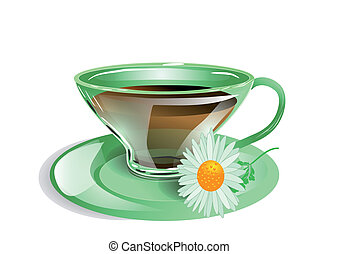 cup of tea with chamomile. 10 EPS