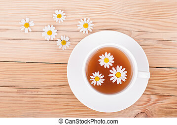 Cup of tea with chamomile.