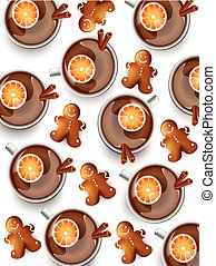 Cup of tea with cookies pattern. Top view, white Vector backgrounds