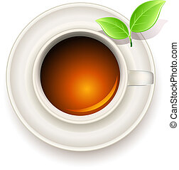 cup of tea with green tea leaves
