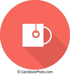 Cup of tea with heart. Vector illustration .