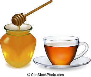Cup of tea with honey. vector illustration.