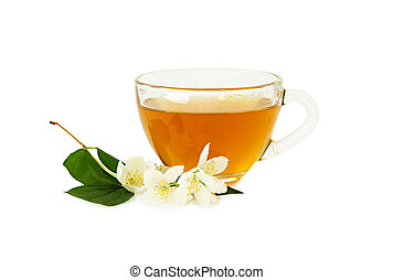 Cup of tea with jasmine isolated on white background.