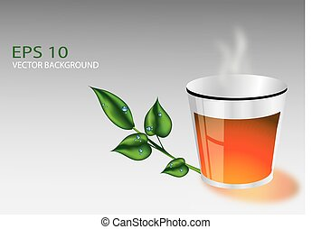 Cup of tea with leaves eps 10