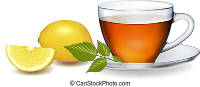 Cup of tea with leaves with lemon. Vector illustration.