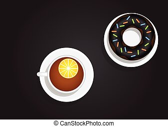 Cup of Tea with Lemon and Donut