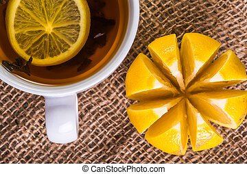 cup of tea with lemon closeup
