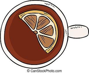 Cup of tea with lemon. Hand drawn cartoon style tea drink doodle