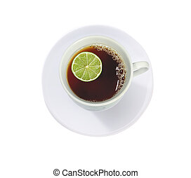 cup of tea with lime (lemon) isolated on white