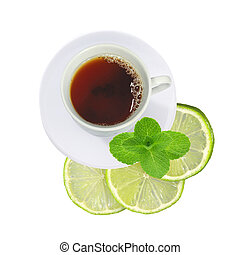 cup of tea with mint and fresh lime (lemon) slices isolated on white background