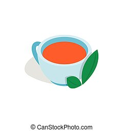 Cup of tea with mint leaf icon, isometric 3d style