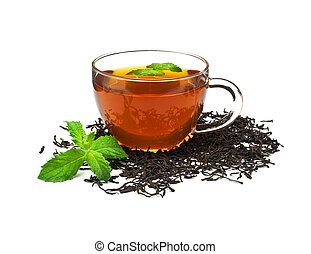 Cup of Tea with Mint Leaf