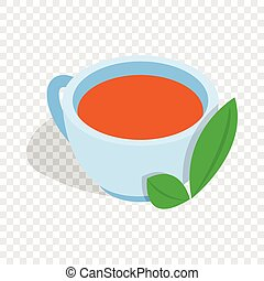 Cup of tea with mint leaf isometric icon