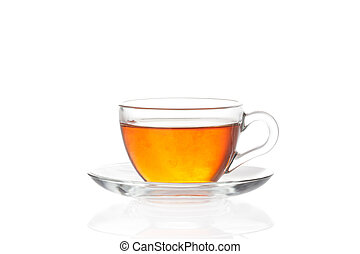 Cup of tea with saucer on white background - Cup of tea with...