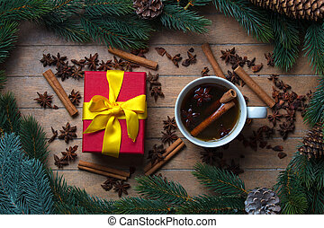 Cup of tea with star anise and cinnamon