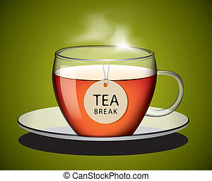 Cup of tea with tag vector