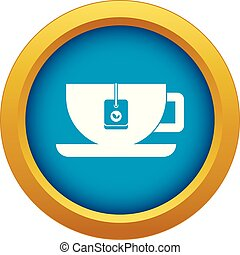 Cup of tea with tea bag icon blue vector isolated