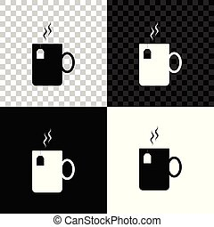 Cup of tea with tea bag icon isolated on black, white and transparent background. Vector Illustration