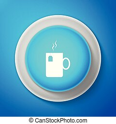 Cup of tea with tea bag icon isolated on blue background. Circle blue button. Vector Illustration