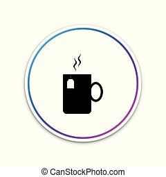 Cup of tea with tea bag icon isolated on white background. Circle white button. Vector Illustration