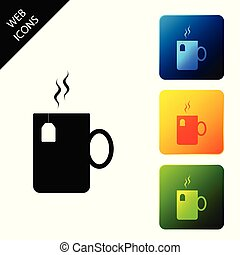Cup of tea with tea bag icon isolated on white background. Set icons colorful square buttons. Vector Illustration