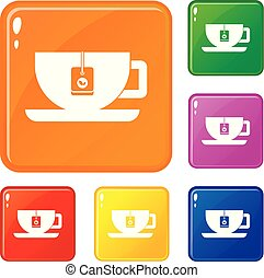 Cup of tea with tea bag icons set vector color