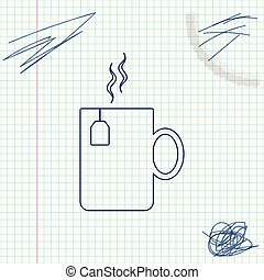 Cup of tea with tea bag line sketch icon isolated on white background. Vector Illustration