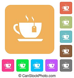 Cup of tea with teabag rounded square flat icons