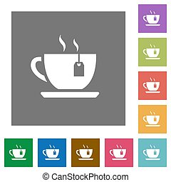 Cup of tea with teabag square flat icons