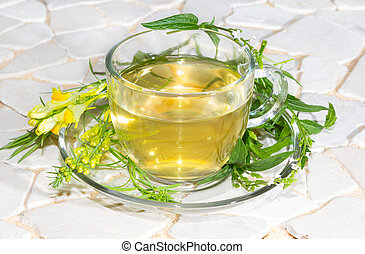 Cup of toadflax and Verbena Infusion used in naturopathy.