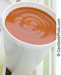 Cup Of Tomato Soup In A Polystyrene Cup