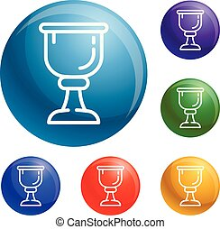 Cup of wine icons set vector 6 color isolated on white...