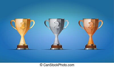 cup of winners award for first, second and third places on a blue background