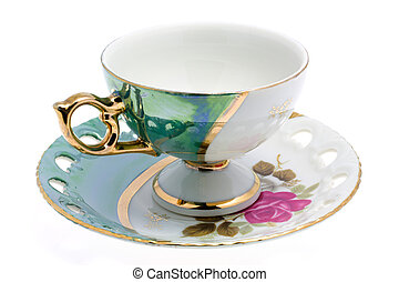 cup on saucer - Nacred cup and saucer. Japan tea-service. ...