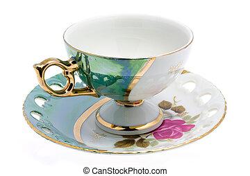 cup on saucer - Nacred cup and saucer. Japan tea-service....