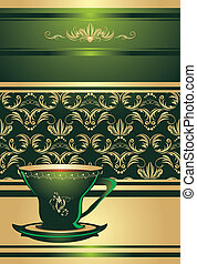 Cup on the decorative background